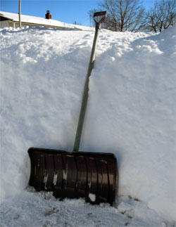 a snow shovel is basic equipment during a canadian winter