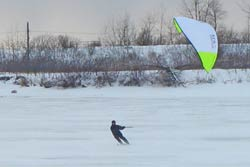 snow kiting or (snowkiting) on the st. lawrence river